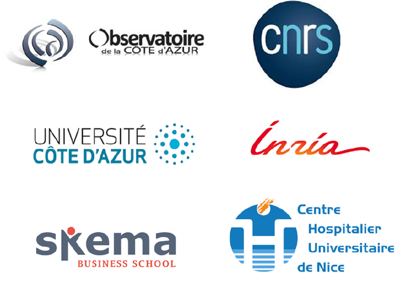 Logo des membres de la cellule mutualisée (UCA,CHUN,OCA,INRIA,CNRS, Skema)