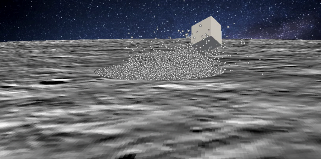 Snapshot of a simulation of impact of a lander (here, the CNES-DLR MASCOT lander on Hayabusa2) on the surface of an asteroid covered with granular matter and the resulting bouncing due to the low-gravity of the surface