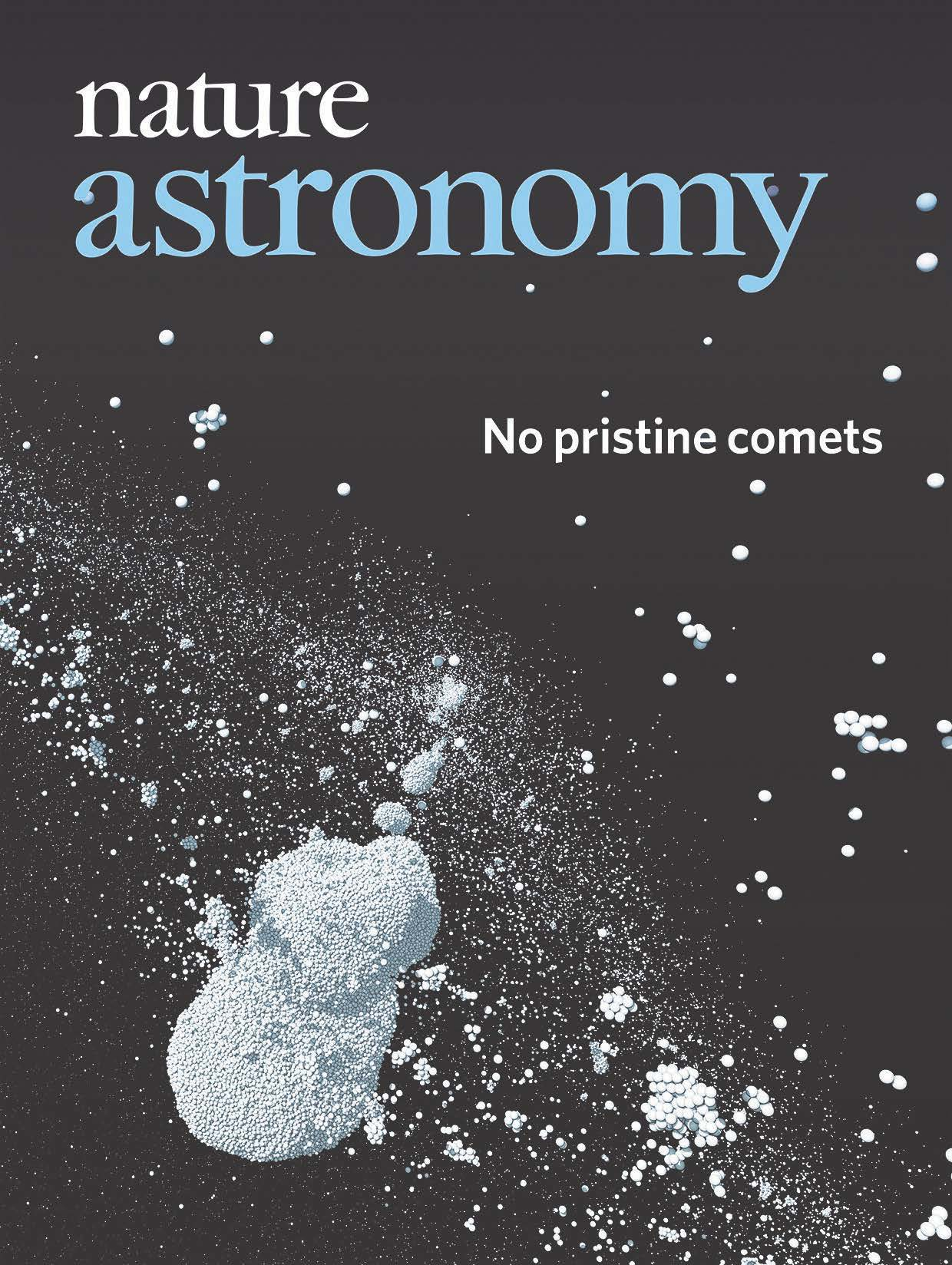 Cover of the journal Nature Astronomy showing the outcome of one of the GRADYN simulations of comet collision and re-accumulation, which reproduces the shape of the comet 67P and explains the formation of comets with two lobes.